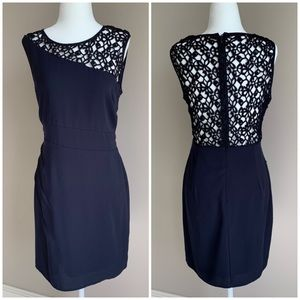 C. Luce Crochet Back Cocktail Dress Navy Blue